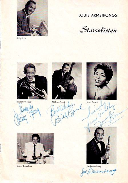 Louis Armstrog All-Stars Foto, Autograph: Billy Kyle, Trummy Young, William Cronk, Jewel Brown, Danny Barcelona, Joe Darensbourg